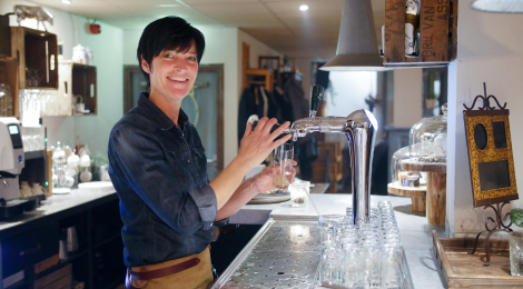Blissful behind the bar